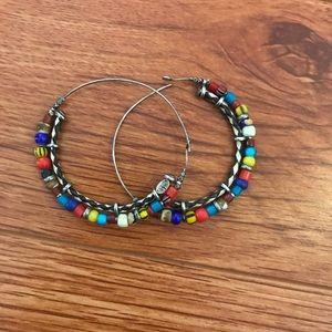 Jewelry - GAS Bijoux Beaded Hoop Earrings